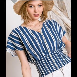 Tops - Striped buttoned down smocked top